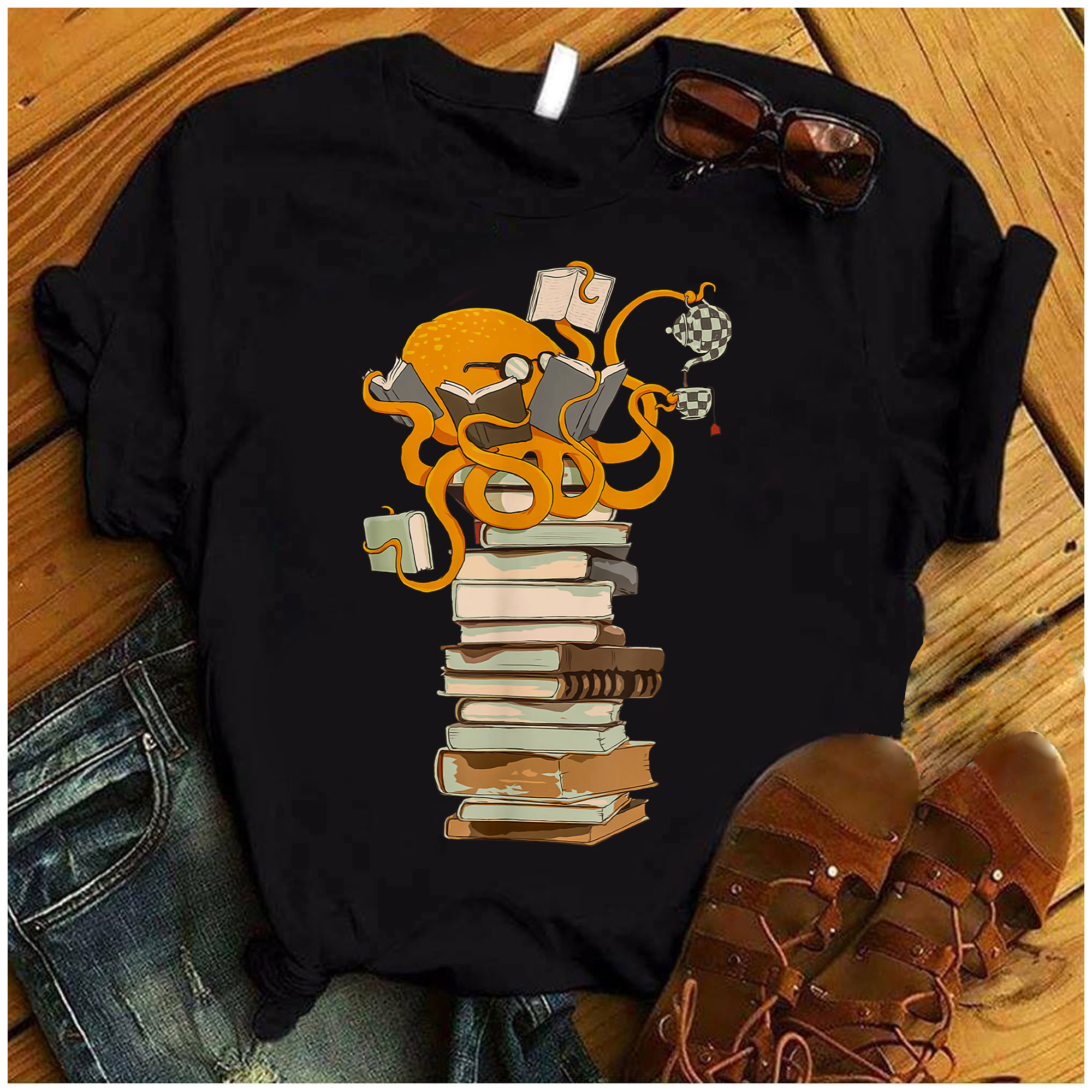 Octopus Book Shirt Books And Coffee