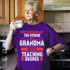 Teacher Shirt Never Underestimate Grandma With Teaching Degree