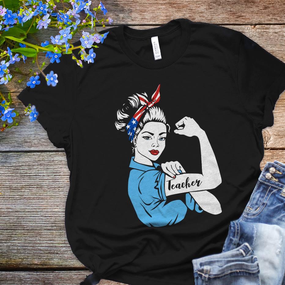 Teacher Shirt Strong Woman American Flag Bandana
