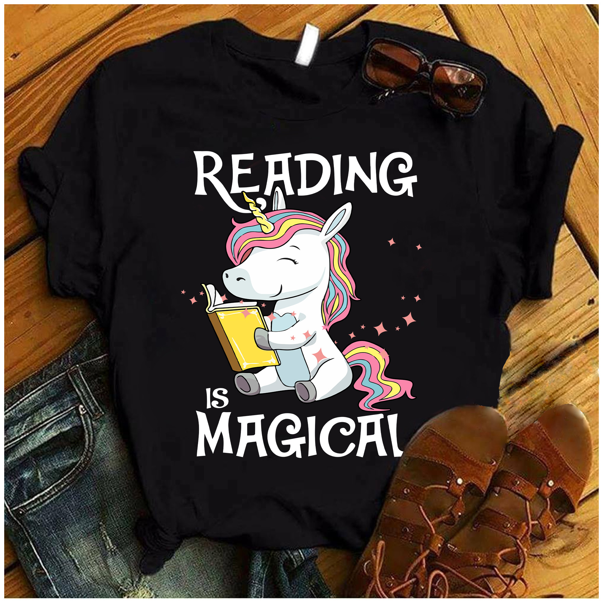 Unicorn Book Shirt Reading Is Magic