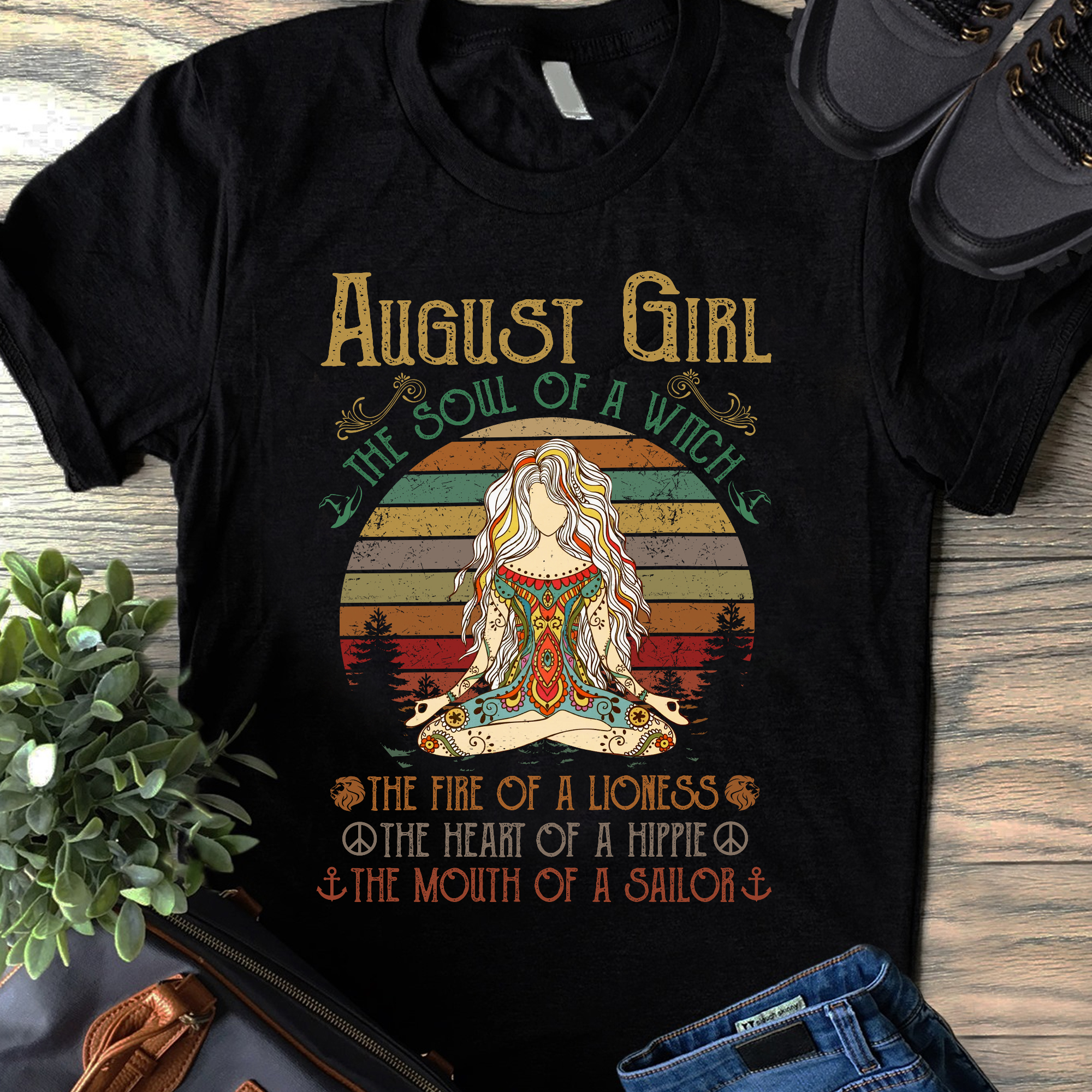 Vintage Yoga August Girl Shirt The Soul Of A Witch