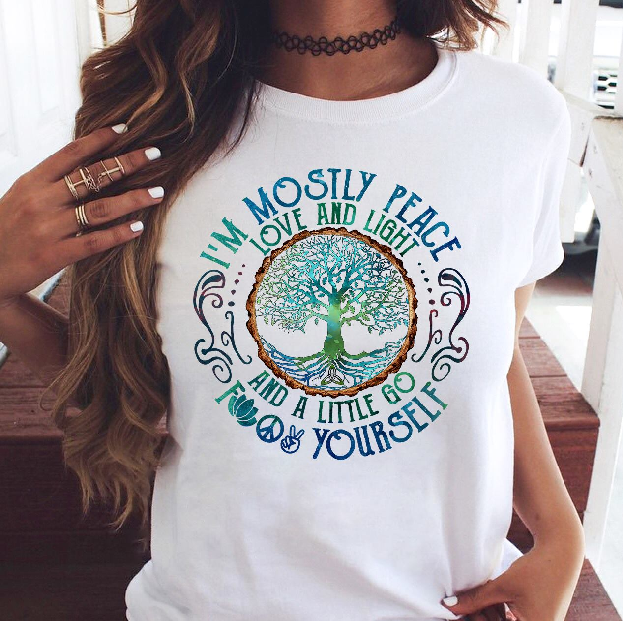 Yoga Shirt Tree Of Life I'm Mostly Peace Love And Light