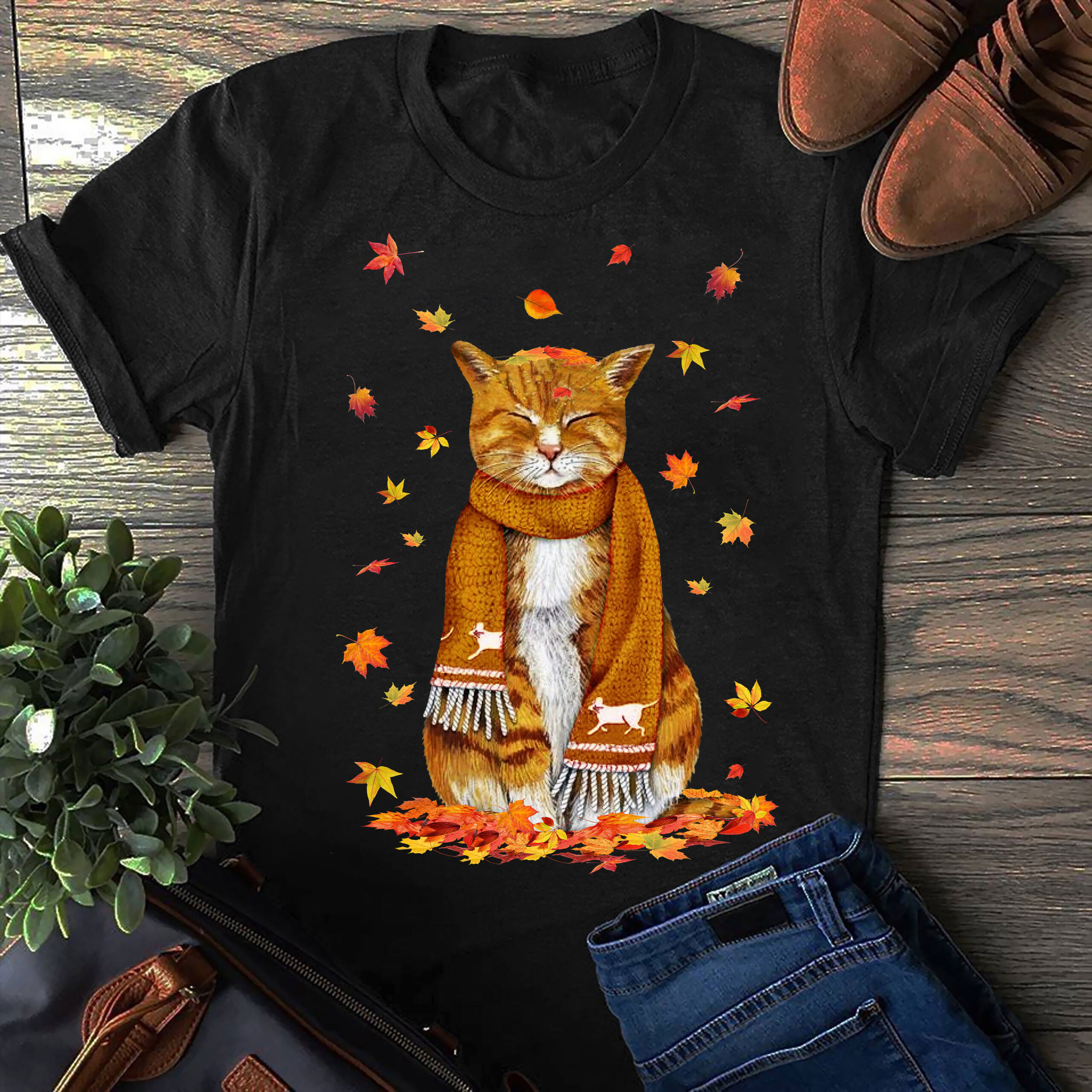 Autumn Cat Wearing Scarf Shirt