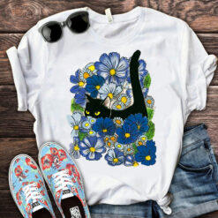 Black Cat Blue Flowers Shirt