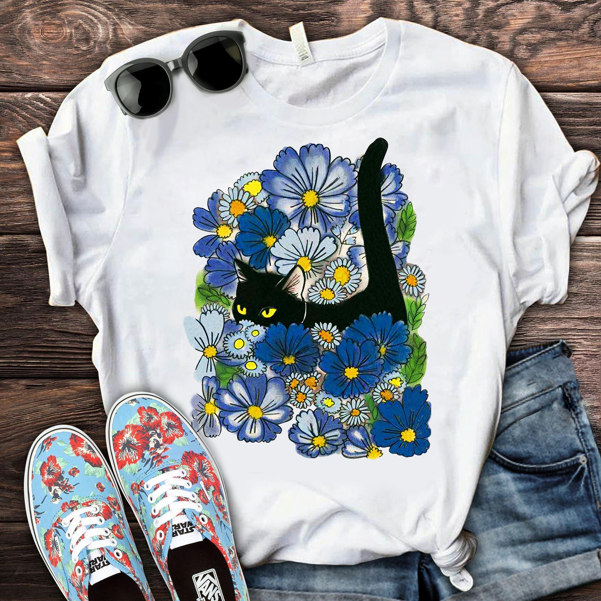 Black Cat Blue Flowers Shirt