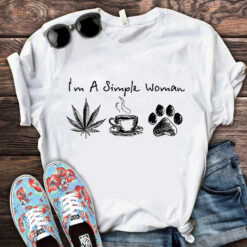 I'm A Simple Woman Cannabis Coffee Dog Shirt