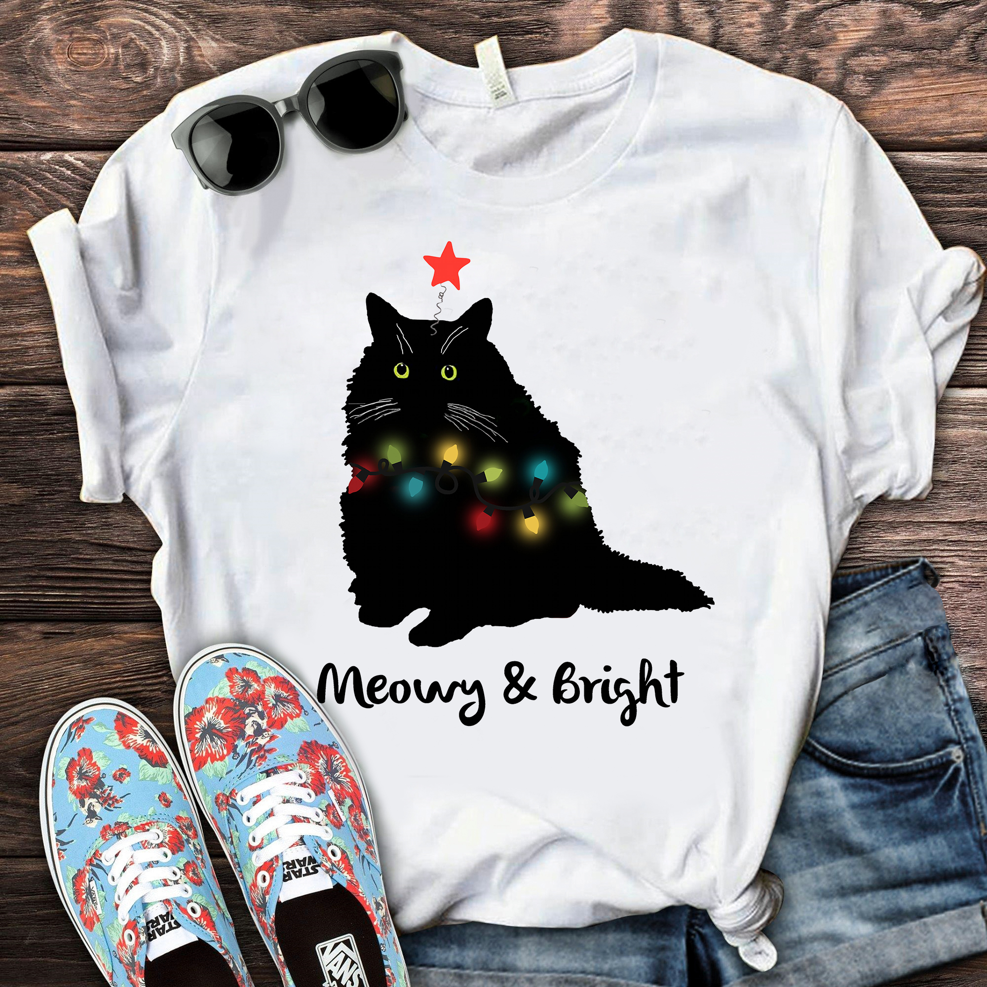 Meowy And Bright Shirt Cat Merry Christmas