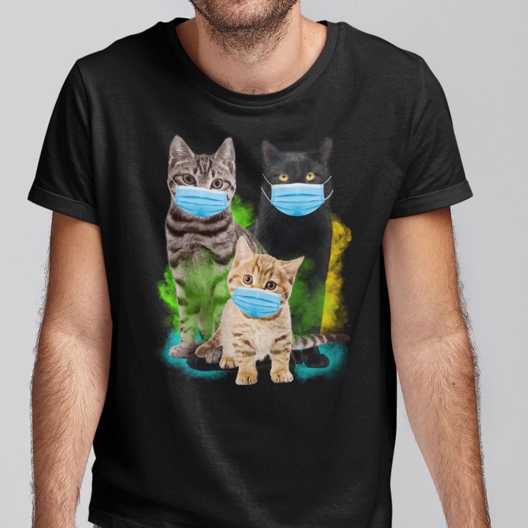 Cat Wearing Facemask Shirt Funny Cat Quarantine 2021