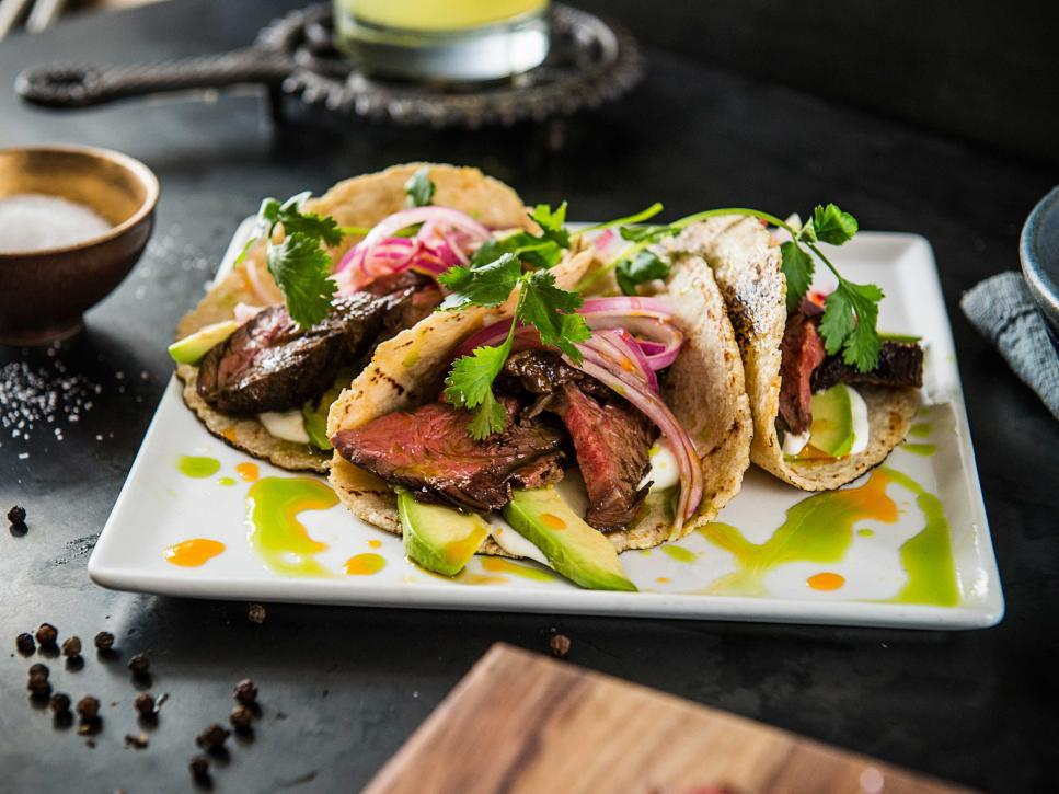 Hanger-Steak-Tacos-with-Chile-and-Herb-Oils-Fathers-Day-food-ideas