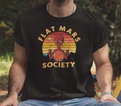 Vintage Flat Mars Society T Shirt Alien Holding Mars