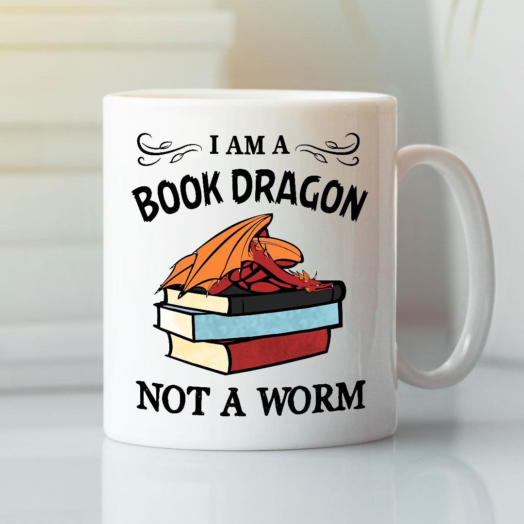 I Am A Book Dragon Not A Worm Mug