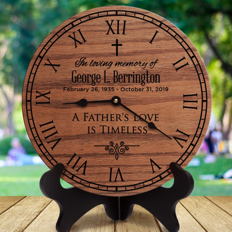 """""""A Father's Love Is Timeless"""" Wooden Clock-what to give to a friend whose dad died."""