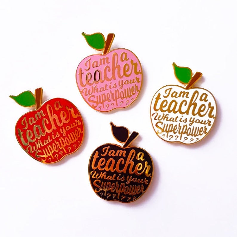 Apple Enamel Pin- wonderful holiday gifts for teacher.