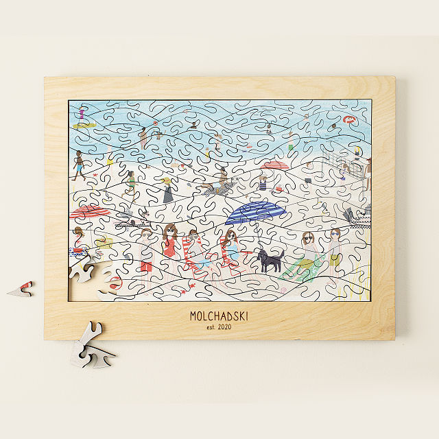 At the Beach Personalized Family Puzzle - best gift for dad to do with son