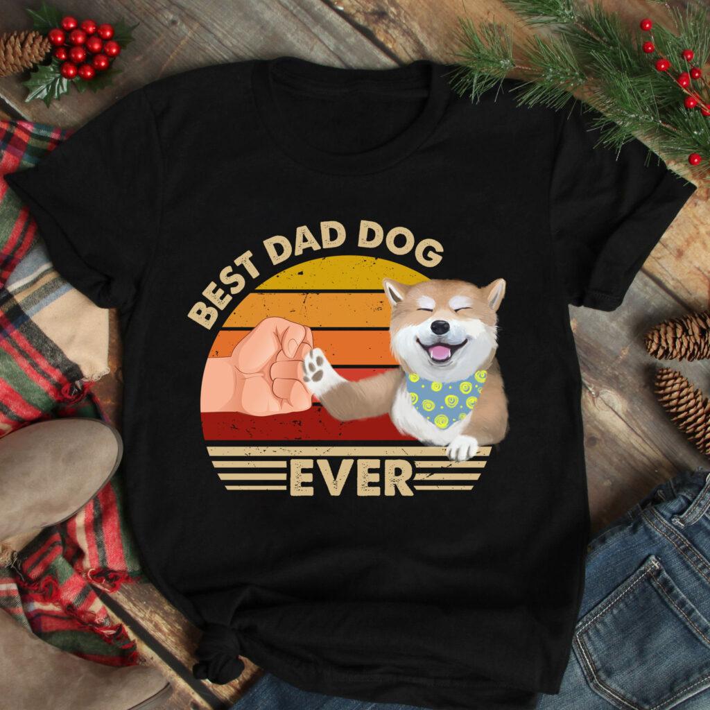 Best Dad Ever Shirt Vintage Best Shiba Dog Dad Ever