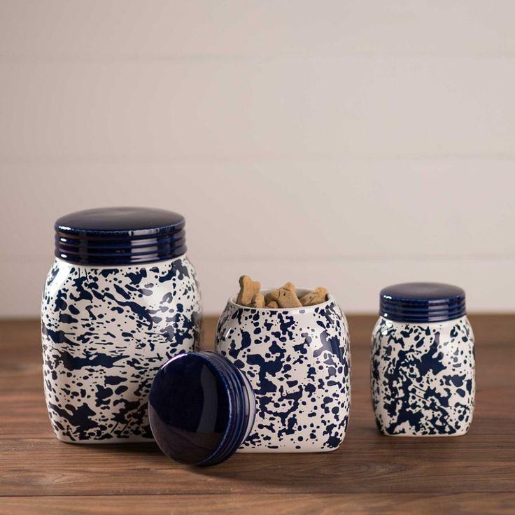 Blue Splatterware Mason Jar Canister Set- great holiday gifts for teacher