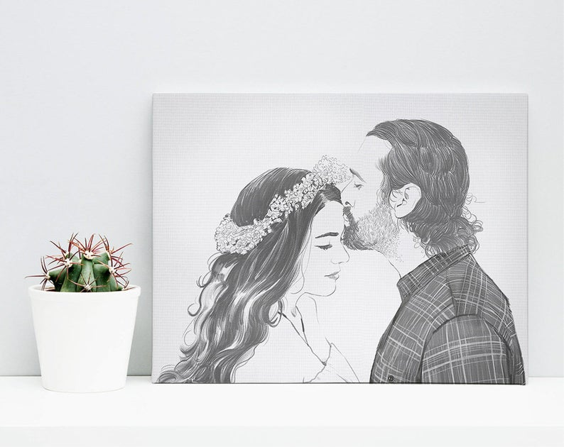 Custom Pencil Portrait- gift for groom whose dad passed.
