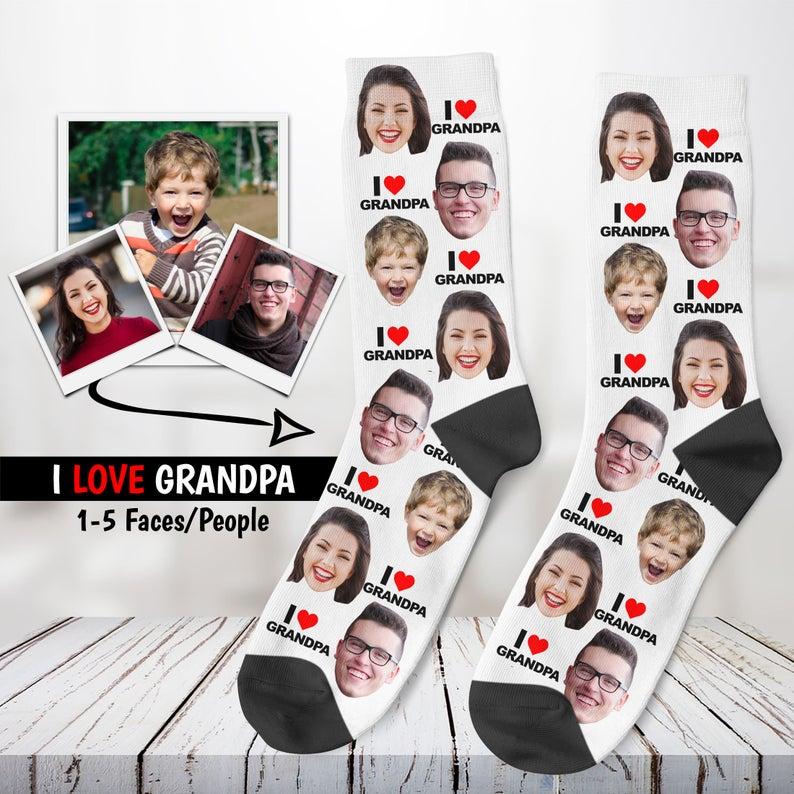 Custom Photo Socks- best new grandad gifts.