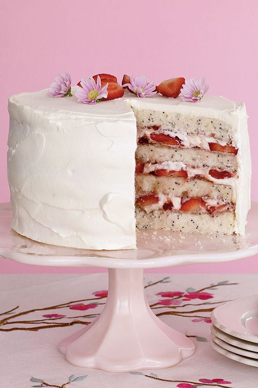 Lemon Poppy Seed Cake with Strawberries