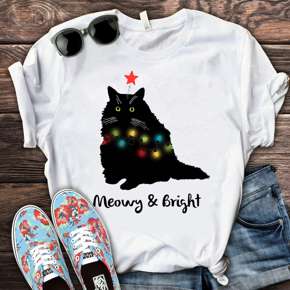 Meowy And Bright Shirt Cat Merry Christmas- best holiday gifts for teacher