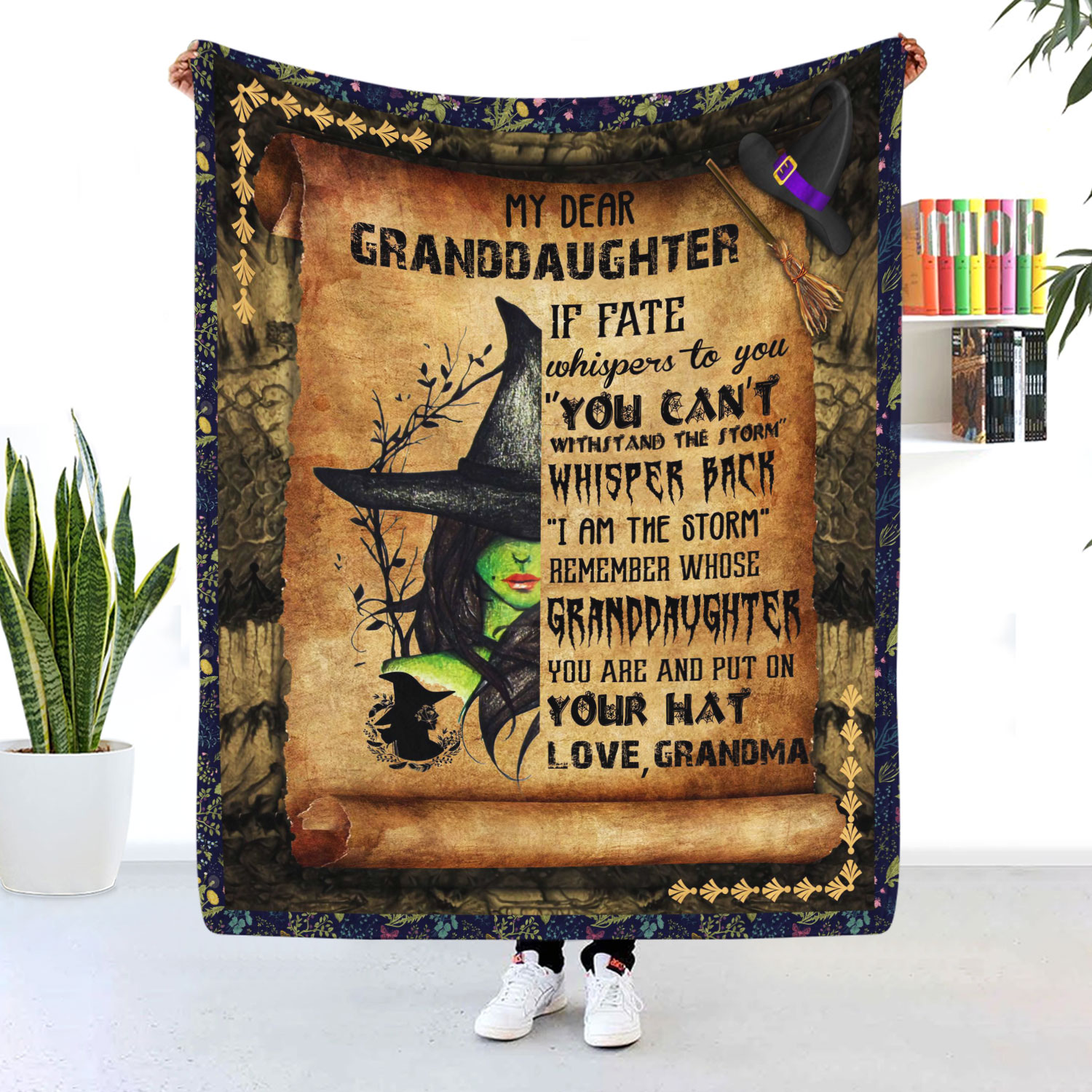 My Dear Granddaughter Witch Blanket