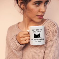 Personalized Cat Dad Mug Human Servant Your Tiny Furry Overlord