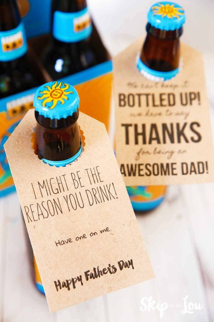 Printable Bottle Tags- fantastic gift ideas for dad diy.