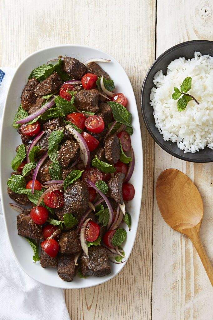 Soy Braised Beef Tomato Mint Salad