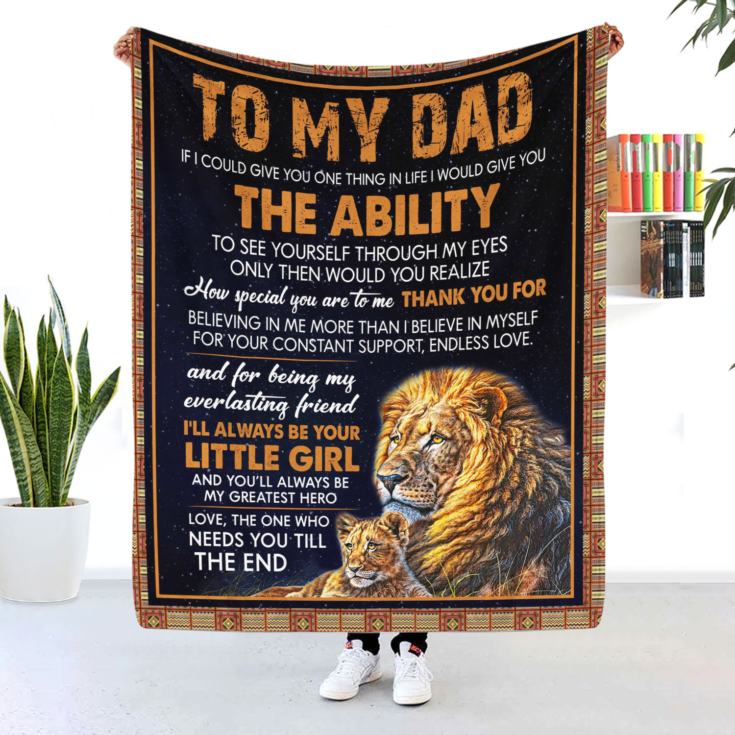 To My Dad I'll Always Be My Little Girl Lion Blanket