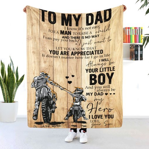 To My Dad Motorcycle Blanket I'll Always Be Your Little Boy- cheap Fathers Day gifts