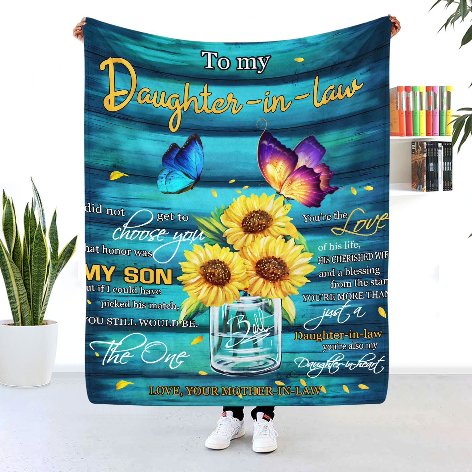 To My Daughter In Law Sunflower Blanket