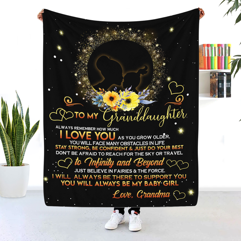 To My Granddaughter Black Girl Blanket