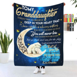To My Granddaughter I Love You To The Moon And Back Blanket