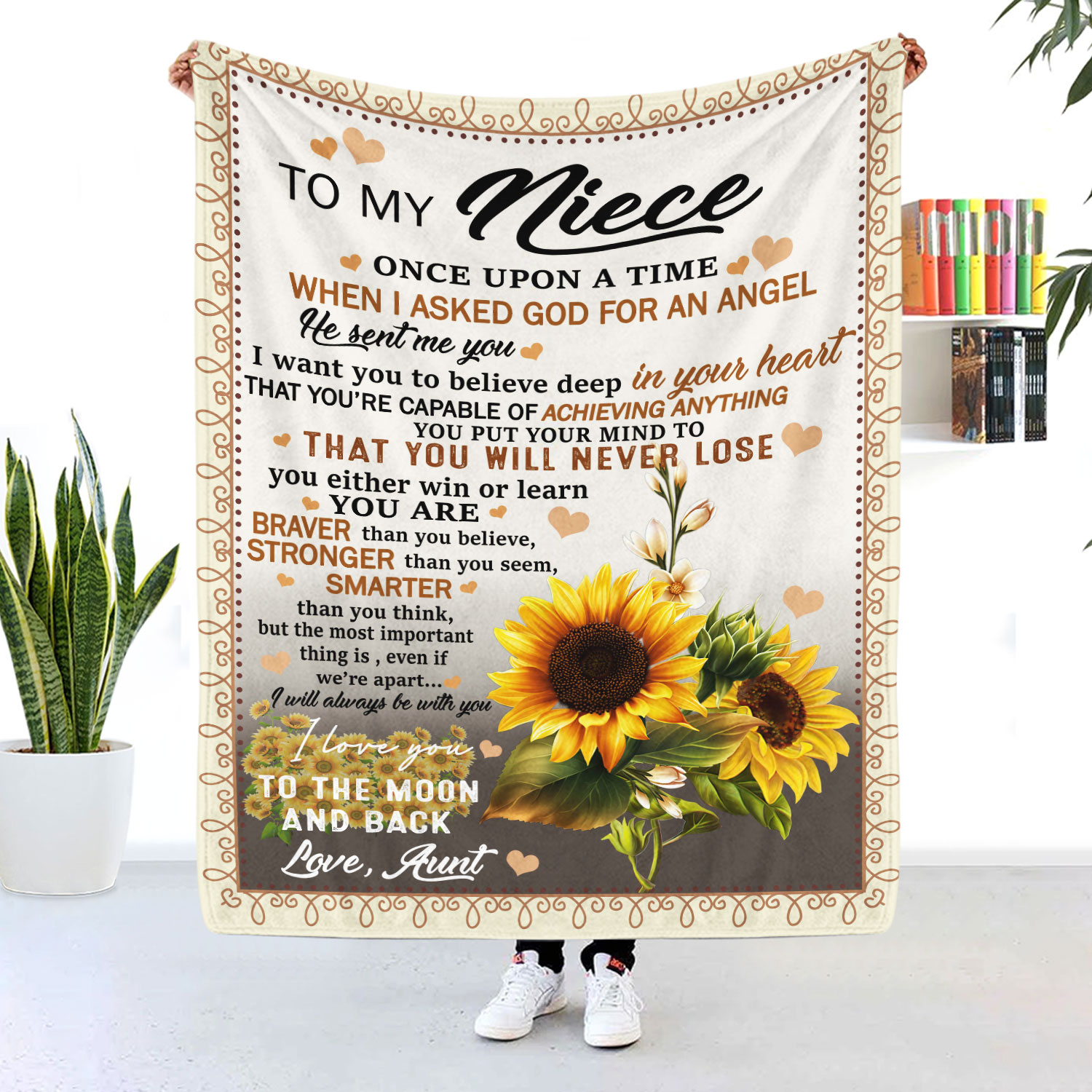 To My Niece I Love You To The Moon And Back Sunflower Blanket