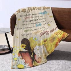 To My Sister In Heart Sunflower Blanket