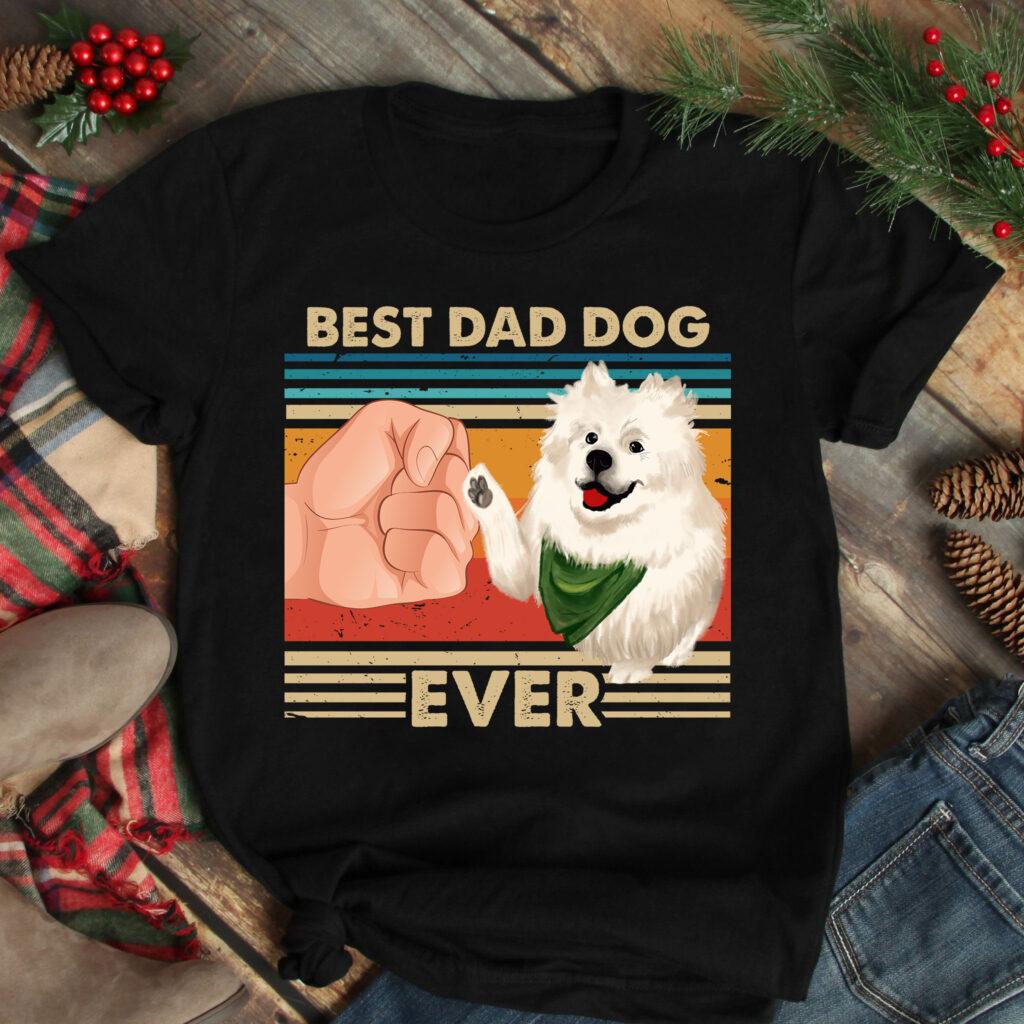 Vintage Best Dad Ever Shirt Best Samoyed Dog Dad Ever