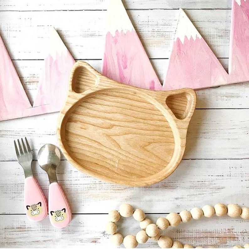 cat wooden plate for cat lover