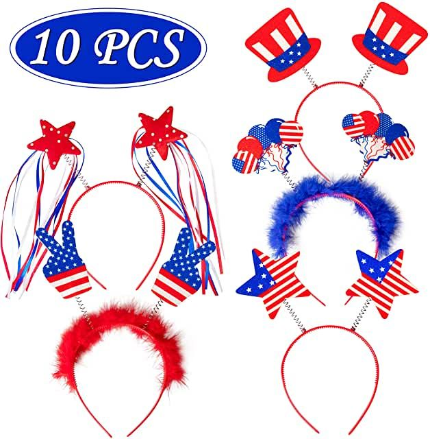 10PCS Patriotic Head Boppers Headband- best Independence Day gift for mom