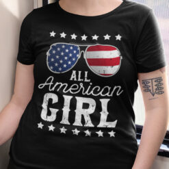 All American Girl 4th Of July Shirt US Flag Sunglasses