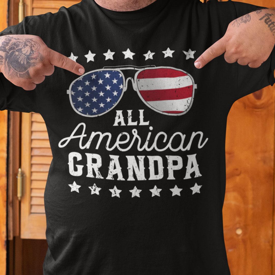 All American Grandpa 4th Of July Shirt US Flag Sunglasses