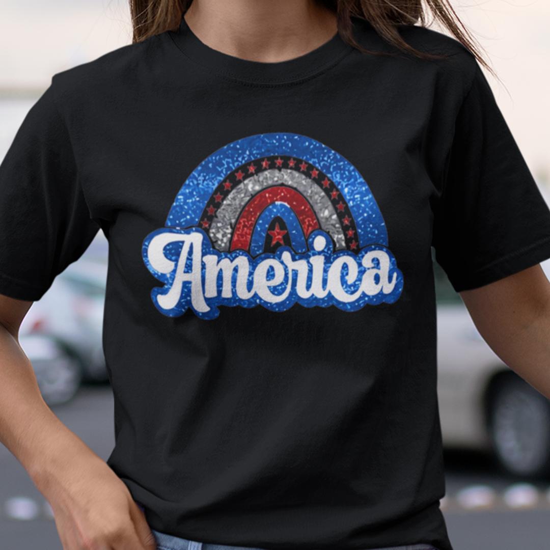 America Rainbow 4th Of July Shirt