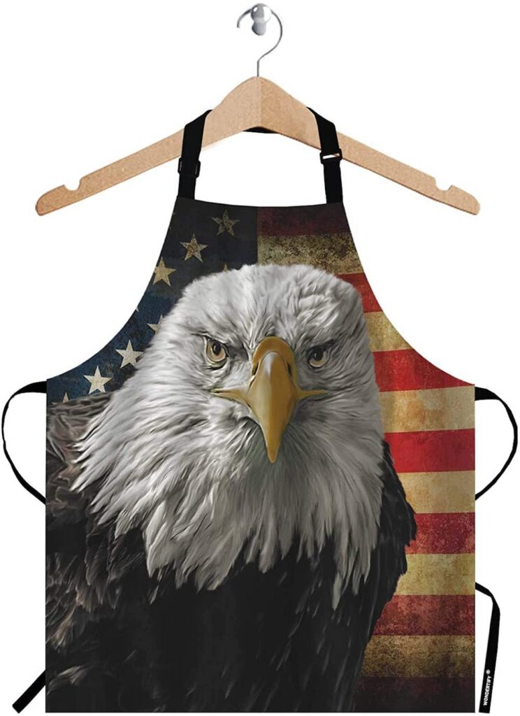 American Bald Eagle on Grunge Flag Apron- best Independence Day gift for dad.