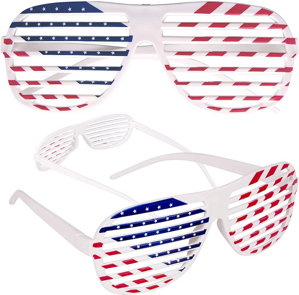 American Flag USA Patriotic Shutter Shades Sunglasses- best Independence Day gift for mom.