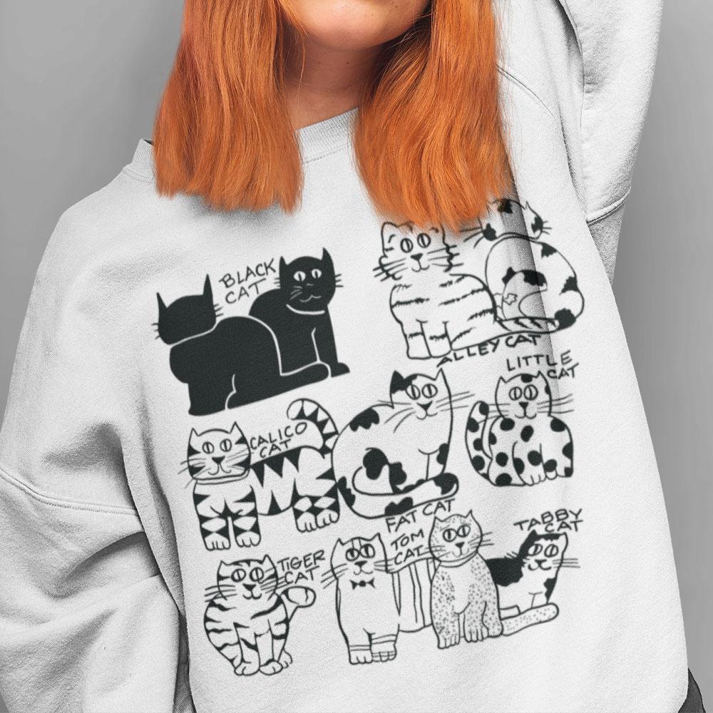 Big Fat Calico Cat Sweatshirt Black Alley Calico Tabby Tiger Tom Fat