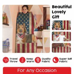 Border Collie American Flag Blanket