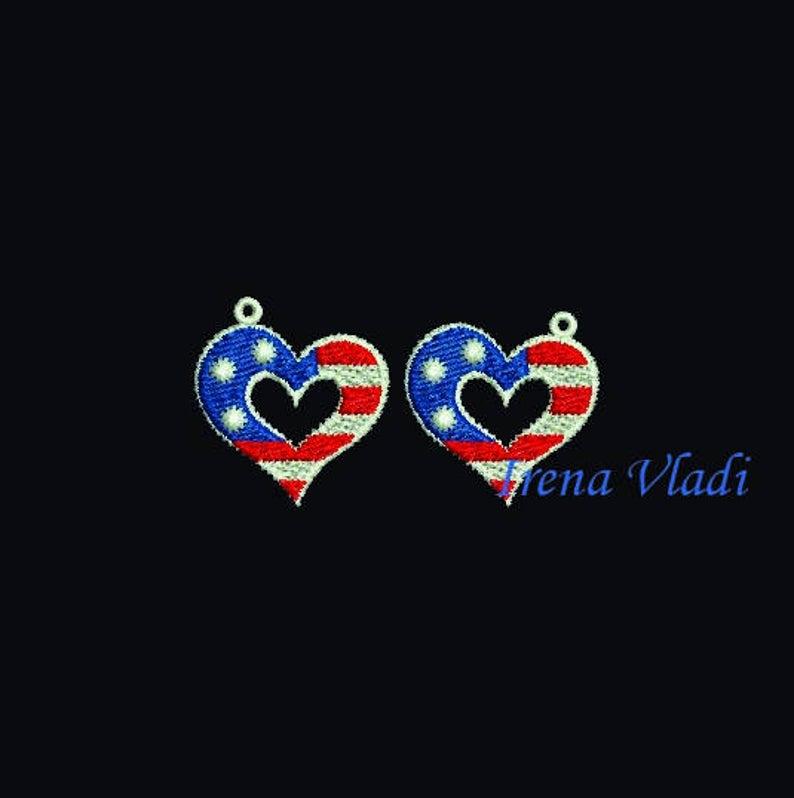 FSL earrings 4th of July American Patriotic Heart flag