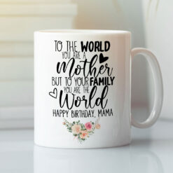 Happy Birthday Mom Mug To Your Family You Are The World