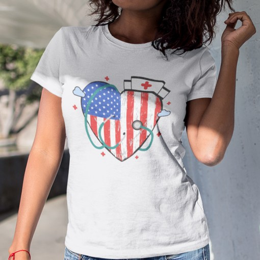Nurse 4th Of July Shirt Heart American Flag- best Independence Day gift for nurses