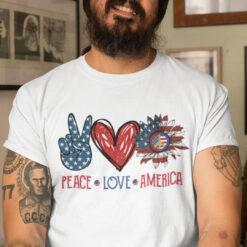 Patriotic Peace Love America 4th Of July Shirt