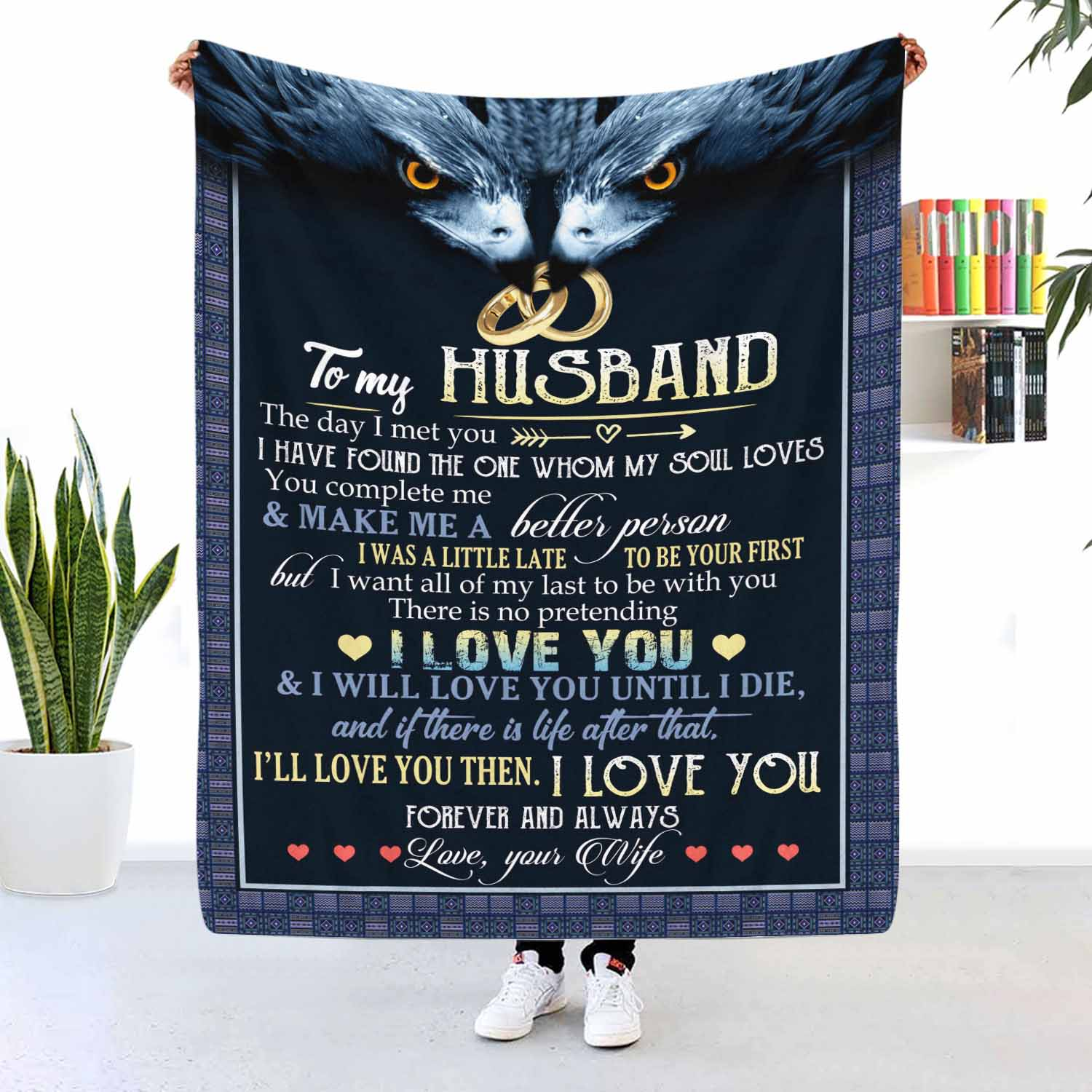To My Husband I Love You Forever And Always Eagle Blanket